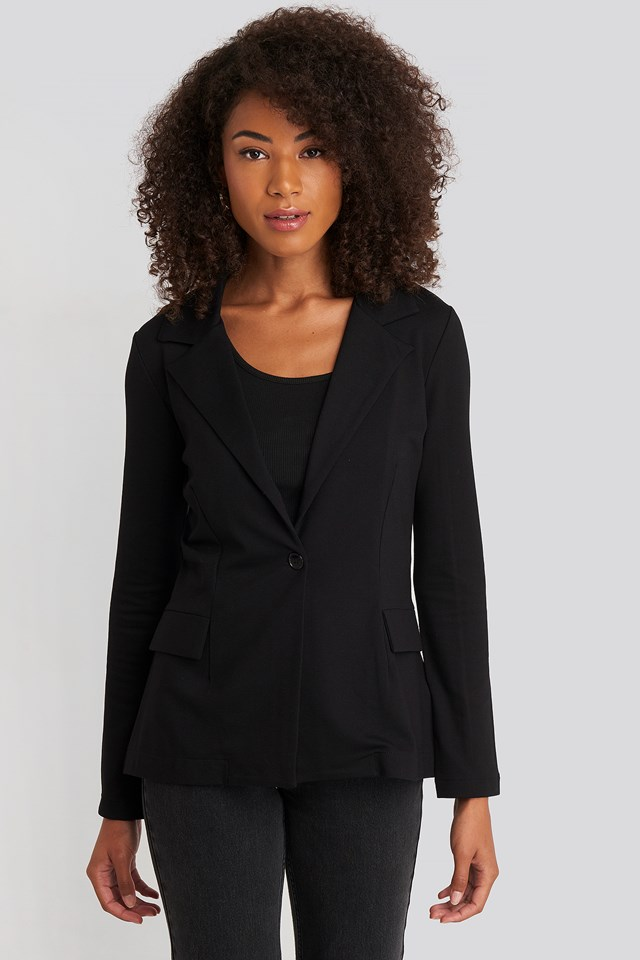 Asymmetric Side Tie Blazer Deep Black