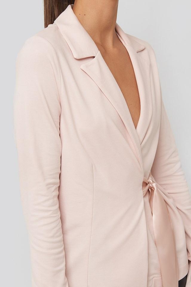 Asymmetric Side Tie Blazer Violet