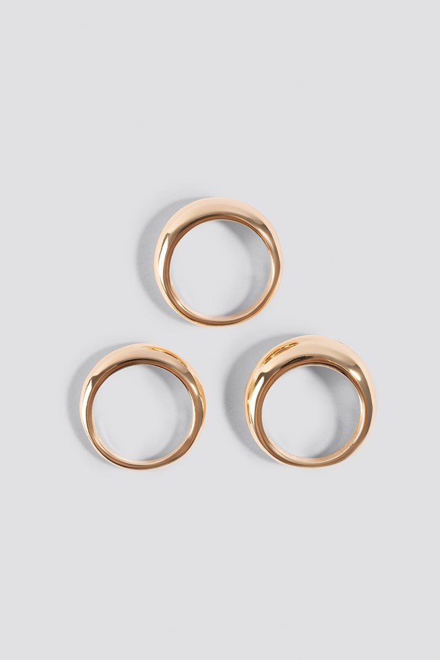 Asymmetric Stacking Rings Gold