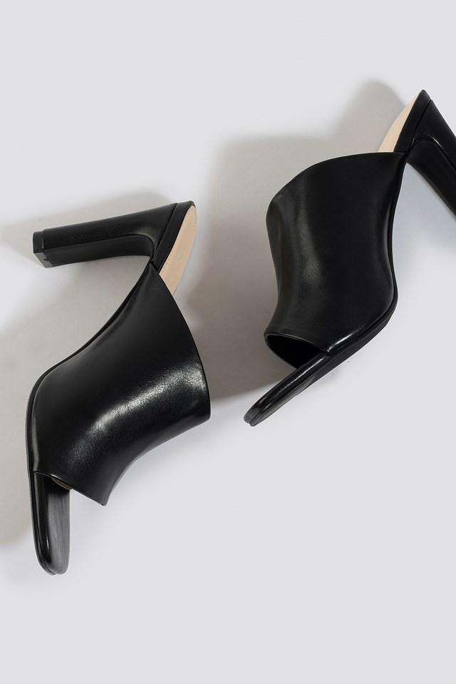 Asymmetric Strap Mules Black
