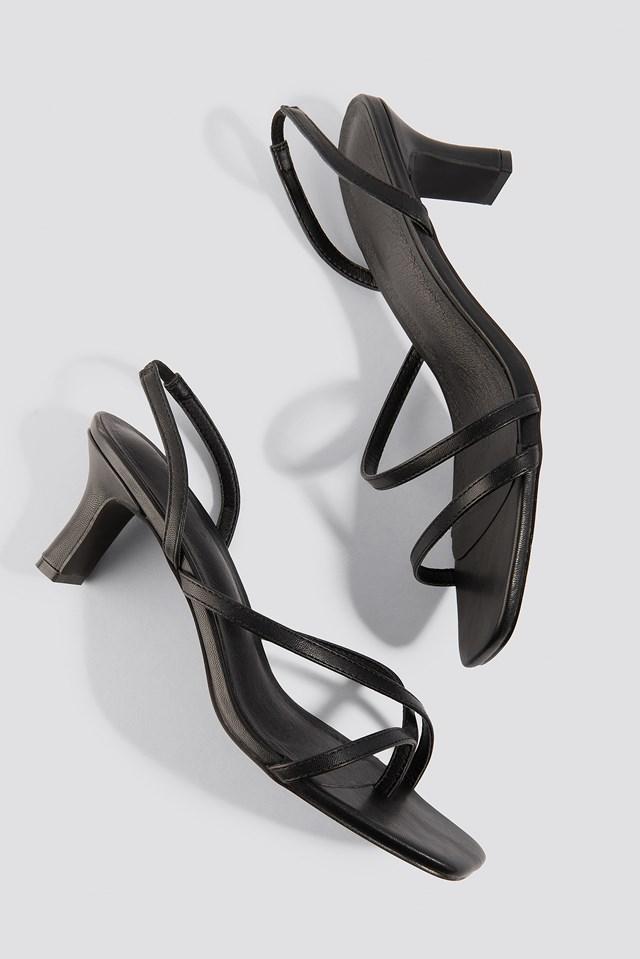 Asymmetric Straps Sandals Black