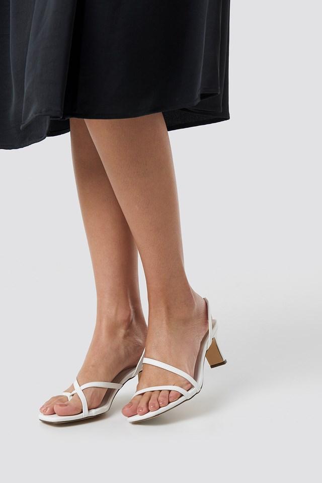 Asymmetric Straps Sandals White