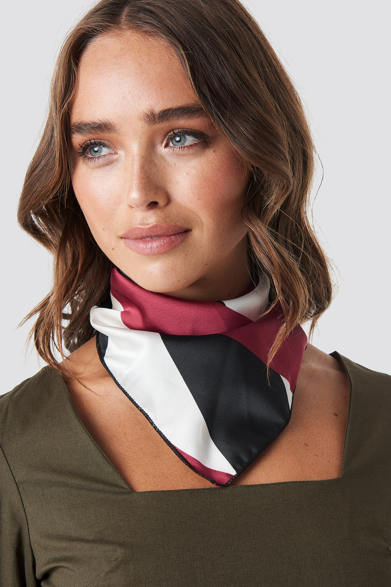Asymmetric Striped Satin Scarf NA-KD.COM