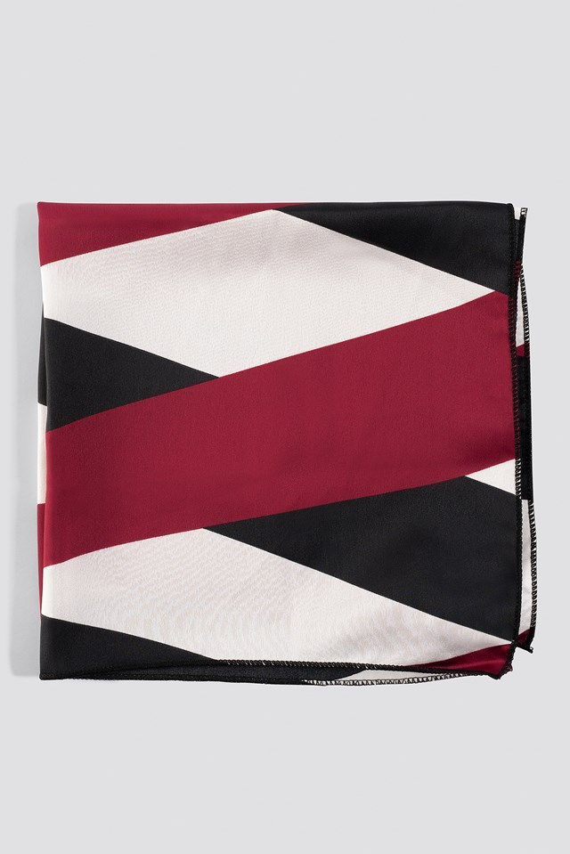 Asymmetric Striped Satin Scarf Red/Black