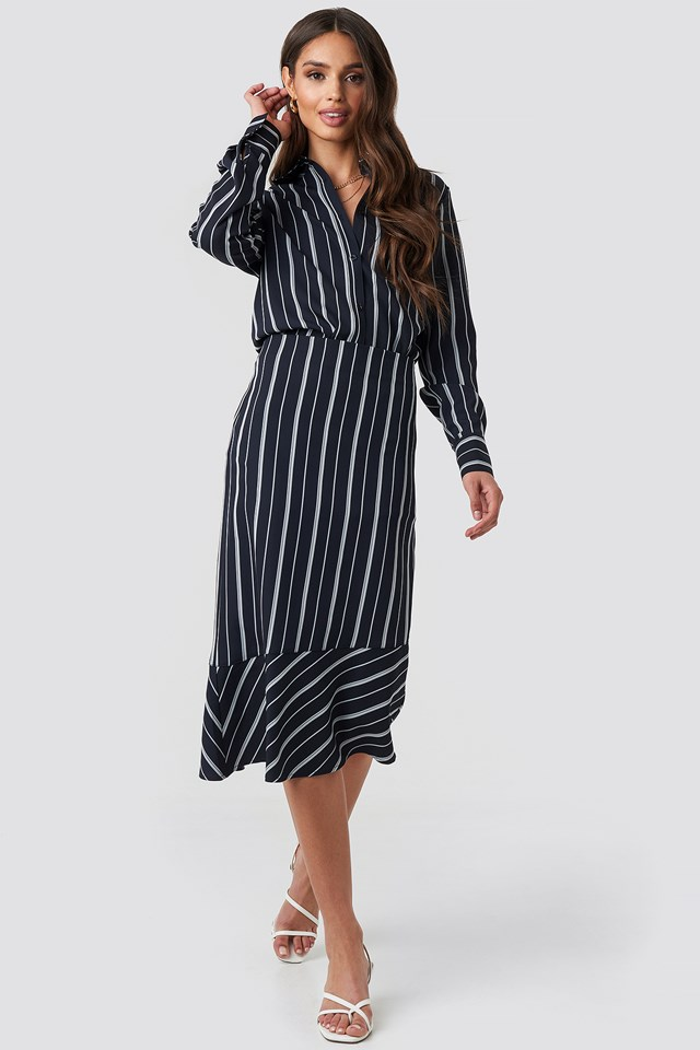 Asymmetric Striped Skirt Dark Blue/White Stripe