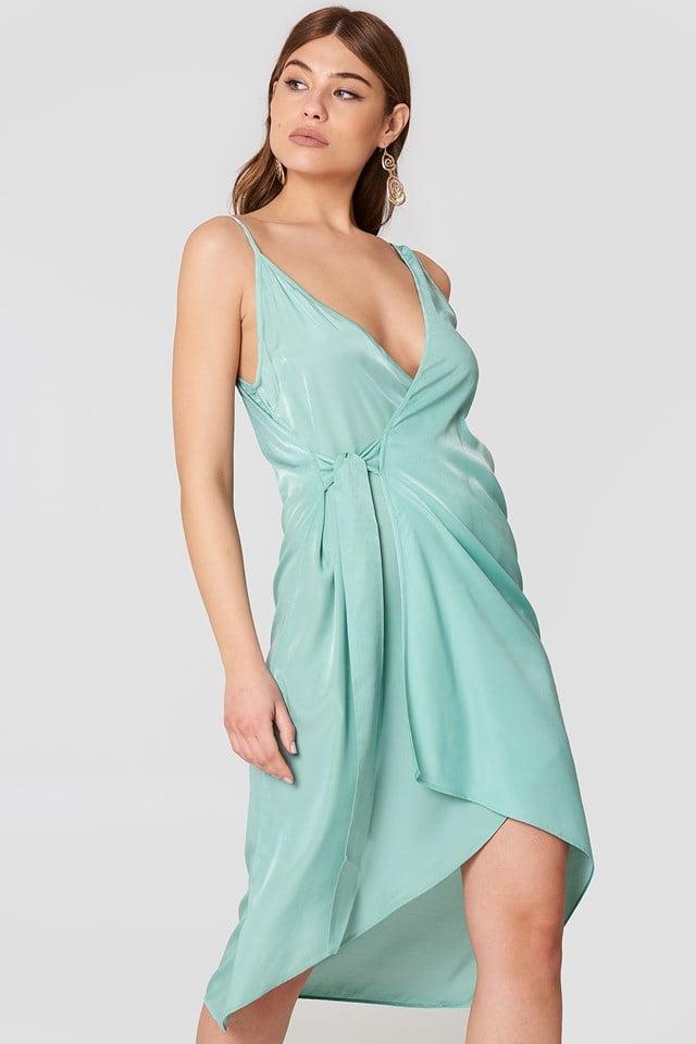 Asymmetric Wrap Dress Duck Green