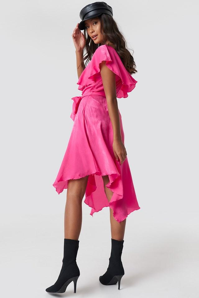 Asymmetric Wrap Frill Dress Magenta