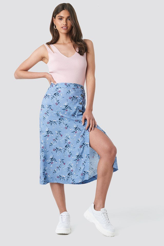 Asymmetrical Button Midi Skirt Floral Print