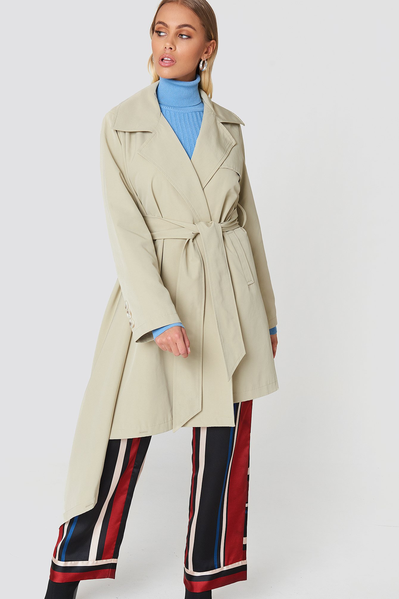 Asymmetrical Hem Trench Coat NA-KD.COM