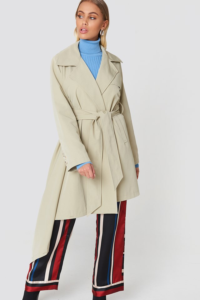 Asymmetrical Hem Trench Coat Beige