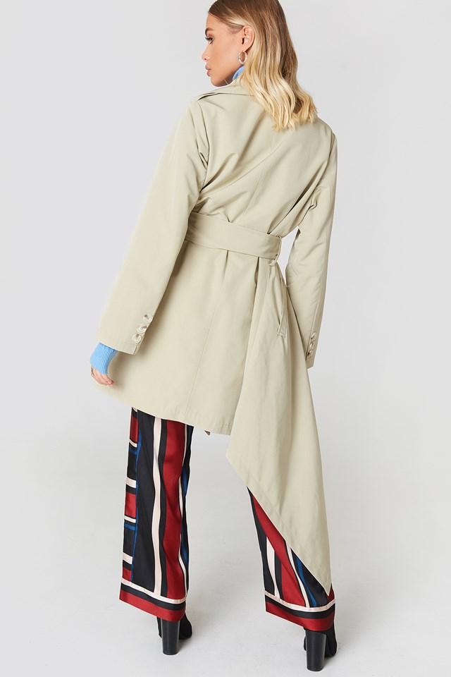 Asymmetrical Hem Trench Coat Beige