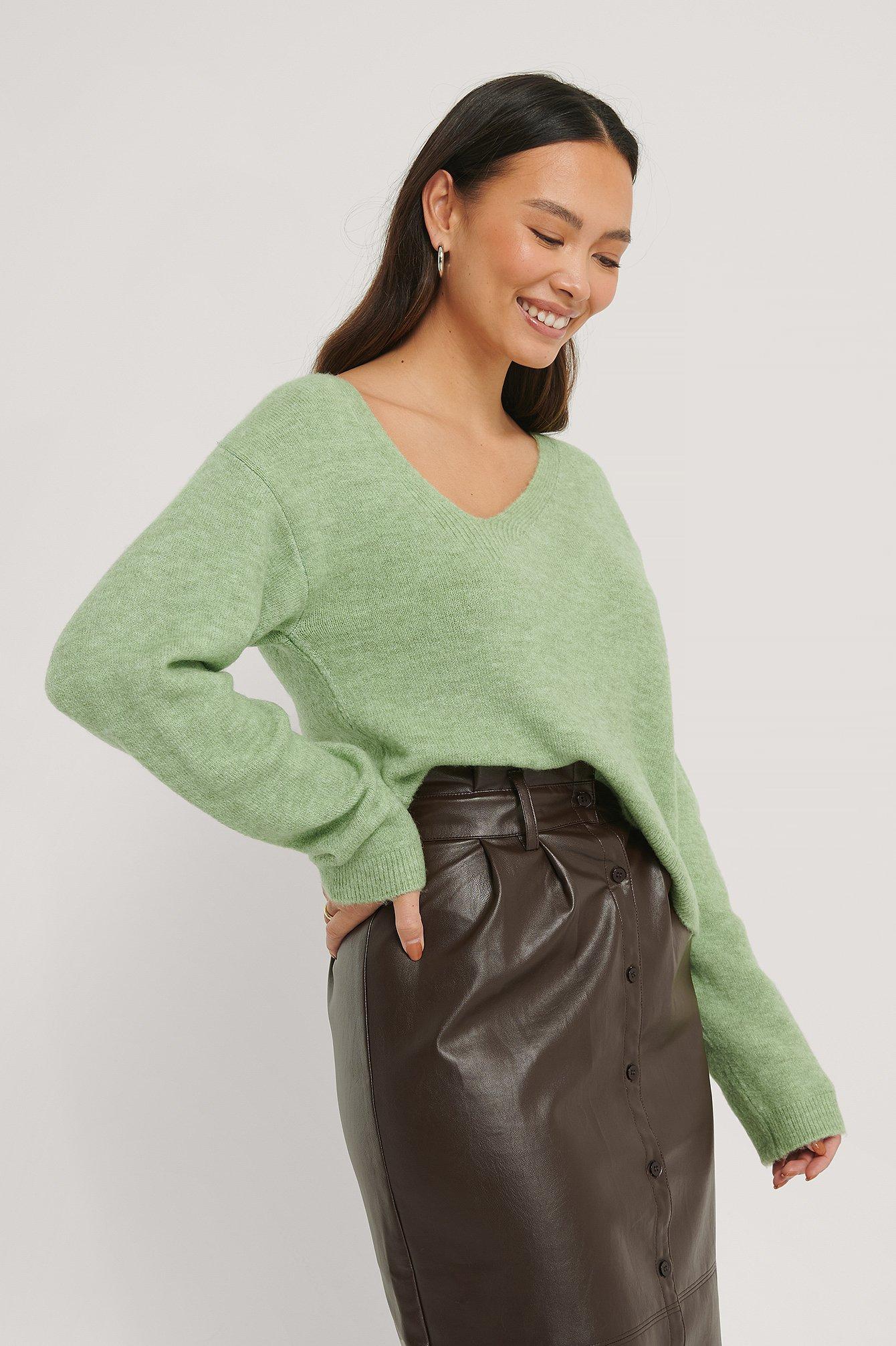 NA-KD Asymmetric Neckline Knitted Sweater - Green