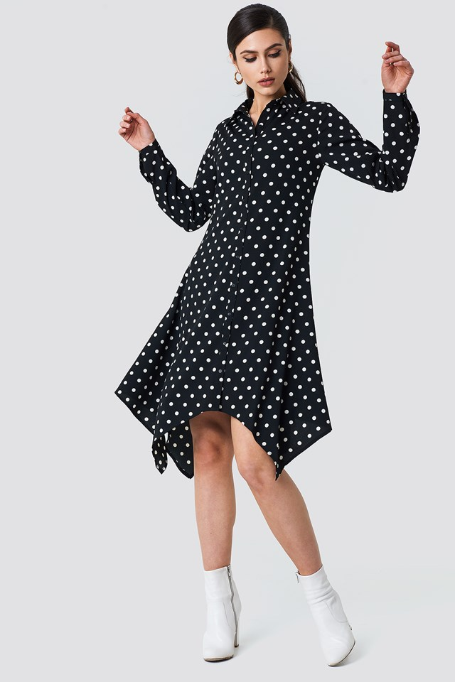 Asymmetric Midi Shirt Dress NA-KD.COM