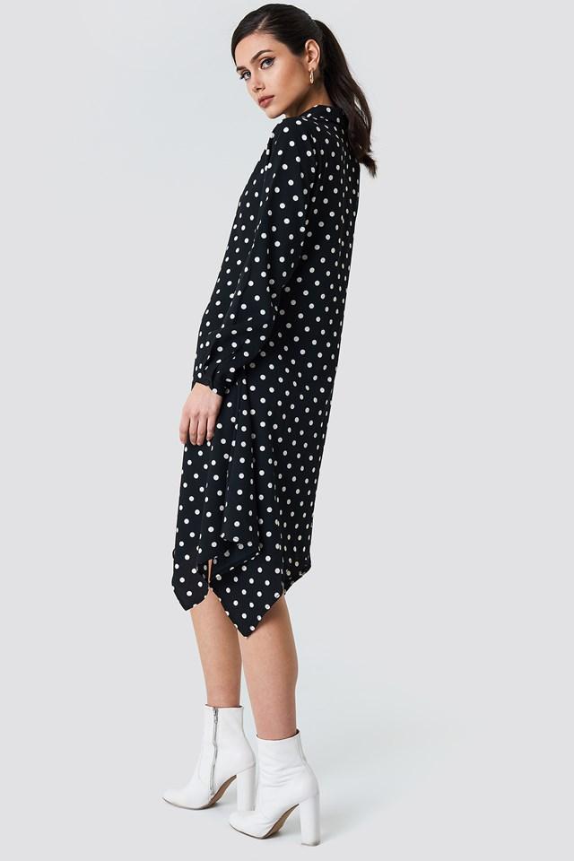 Asymmetric Midi Shirt Dress Black/White dots