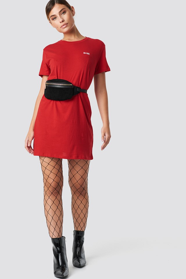 Babe T-shirt Dress Red