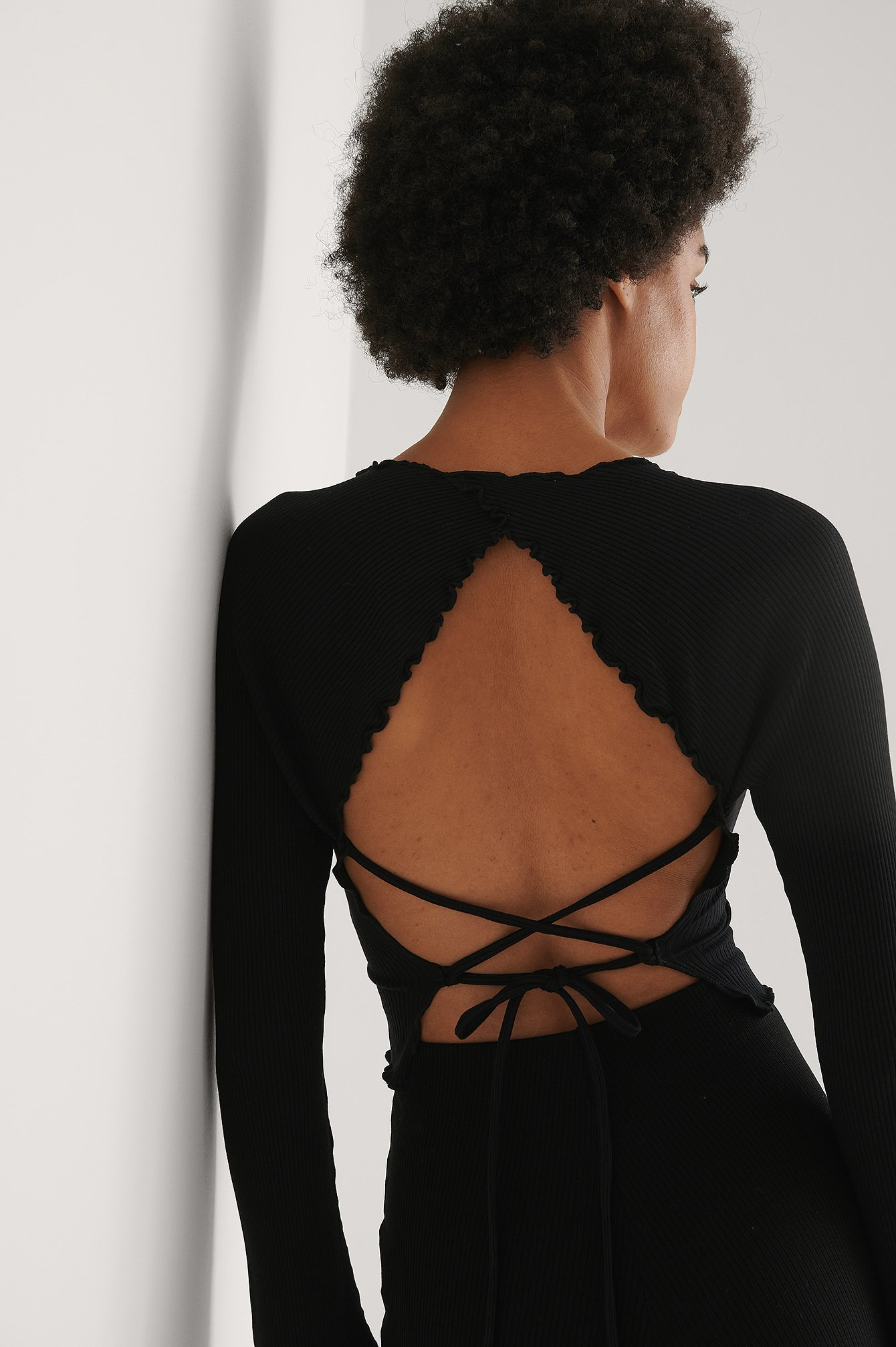Black Babylock Detail Open Back Top