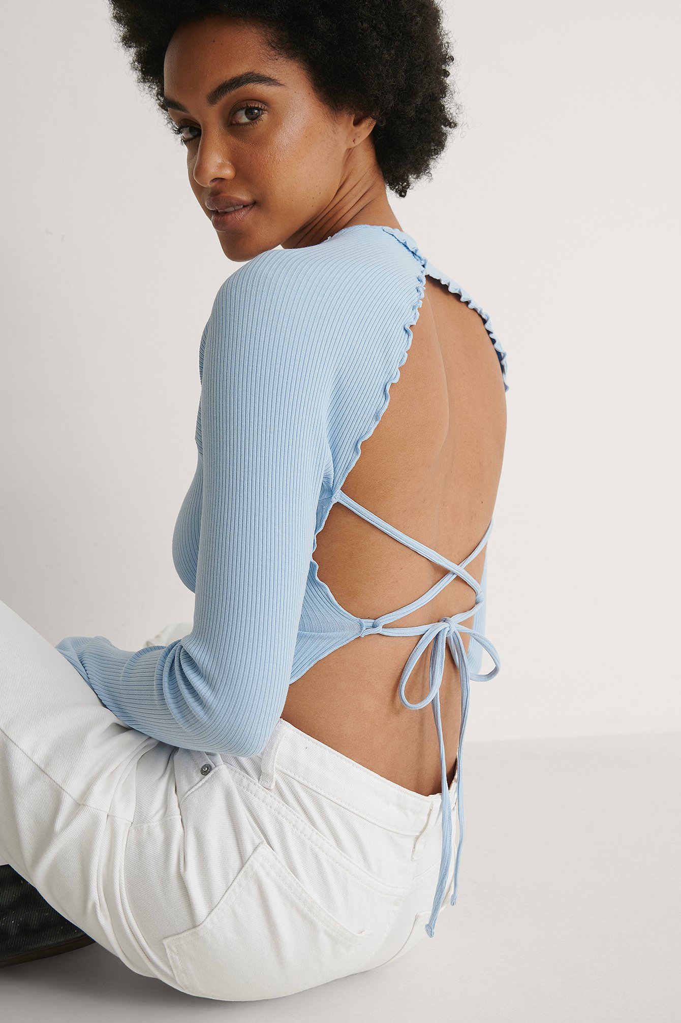 Dusty Light blue Babylock Detail Open Back Top
