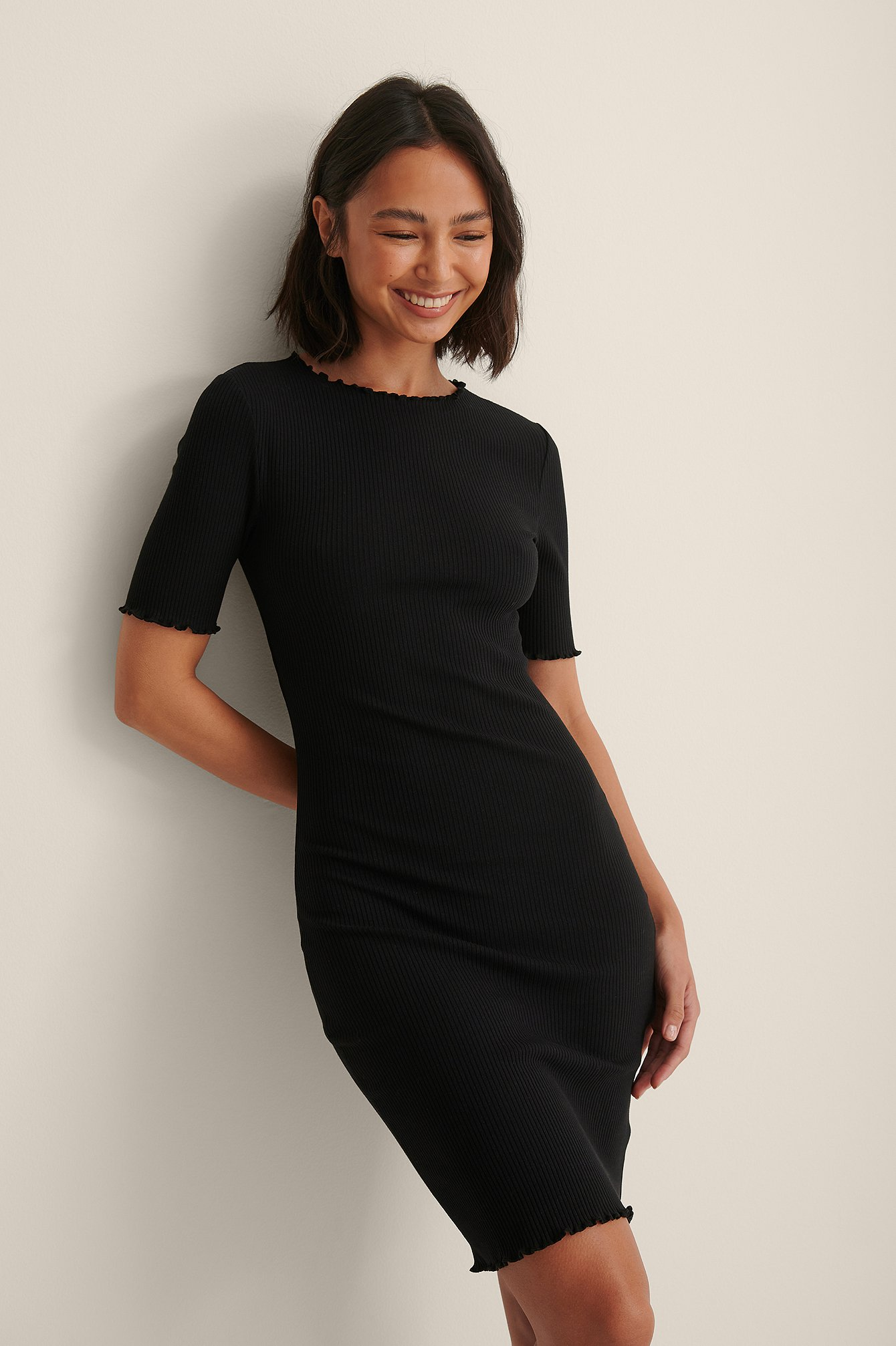Black Organic Babylock Ribbed Mini Dress