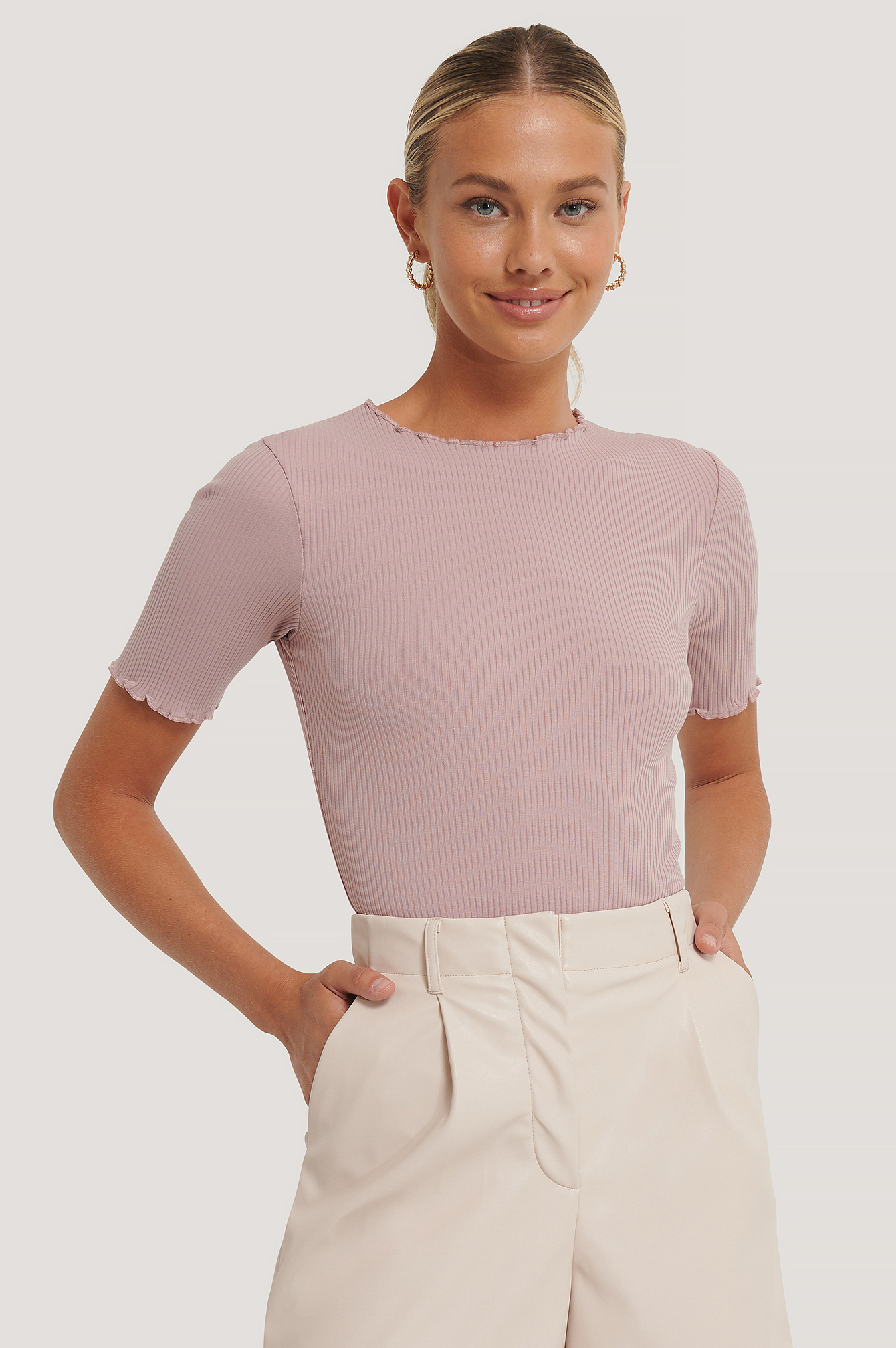Dusty Pink Babylock Ribbed Top