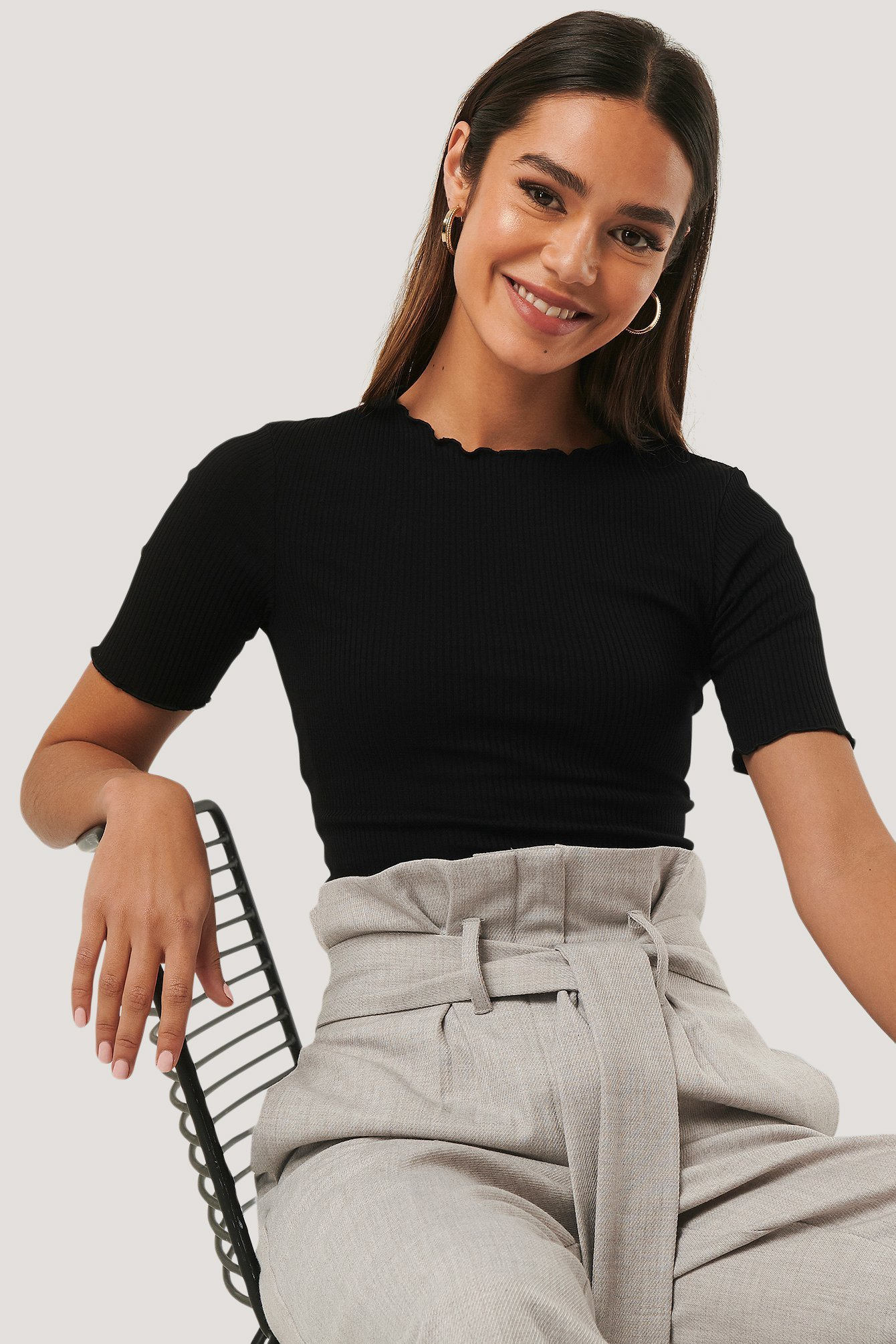Black Organic Babylock Ribbed Top