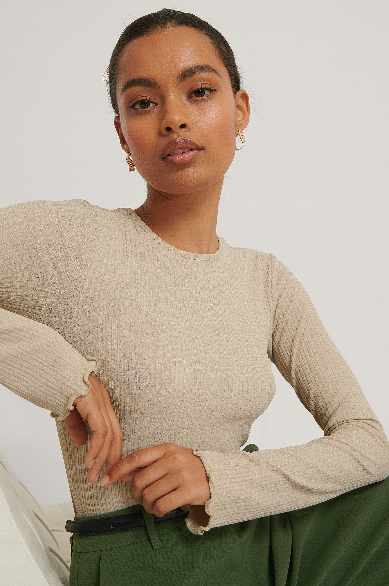 Light Beige Babylock Round Neck Long Sleeve Top