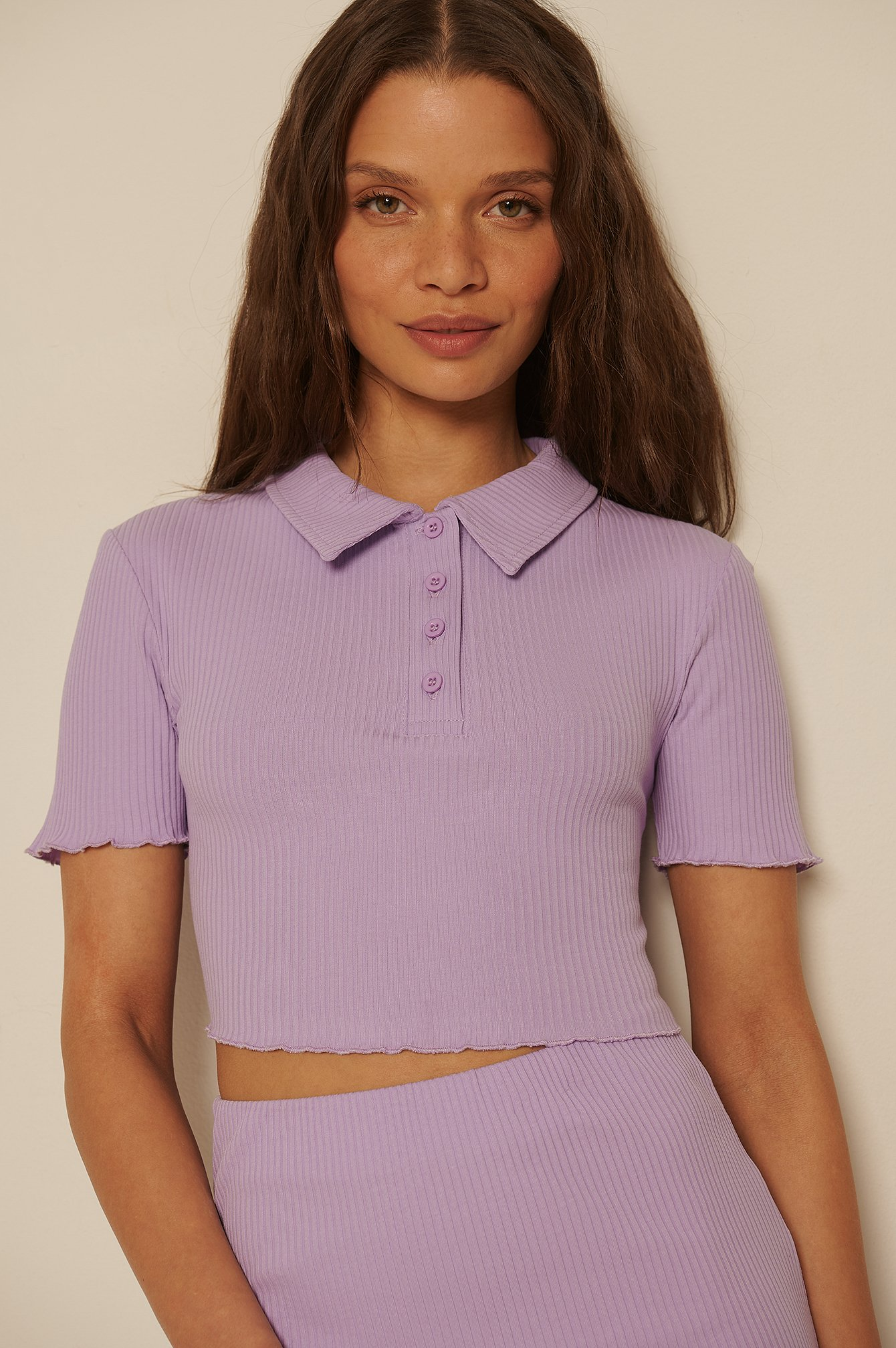 Purple Organic Babylock Short Sleeve Rib Top