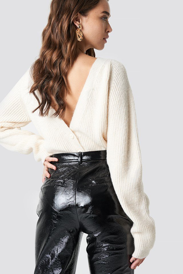 Back Buttoned Knitted Sweater Offwhite