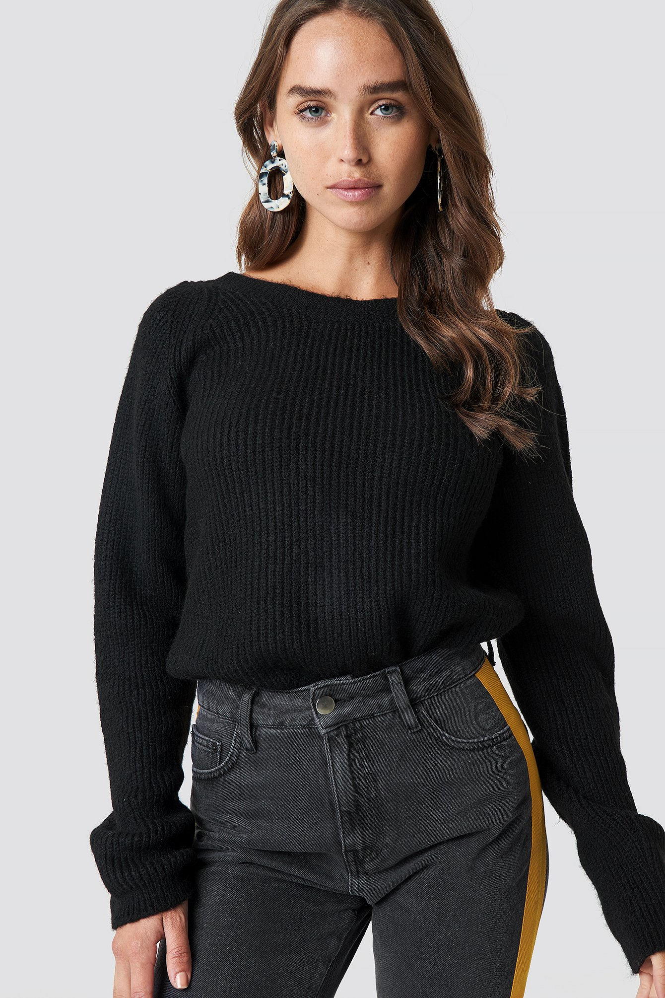 Back Buttoned Knitted Sweater NA-KD.COM