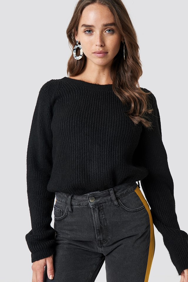 Back Buttoned Knitted Sweater Black