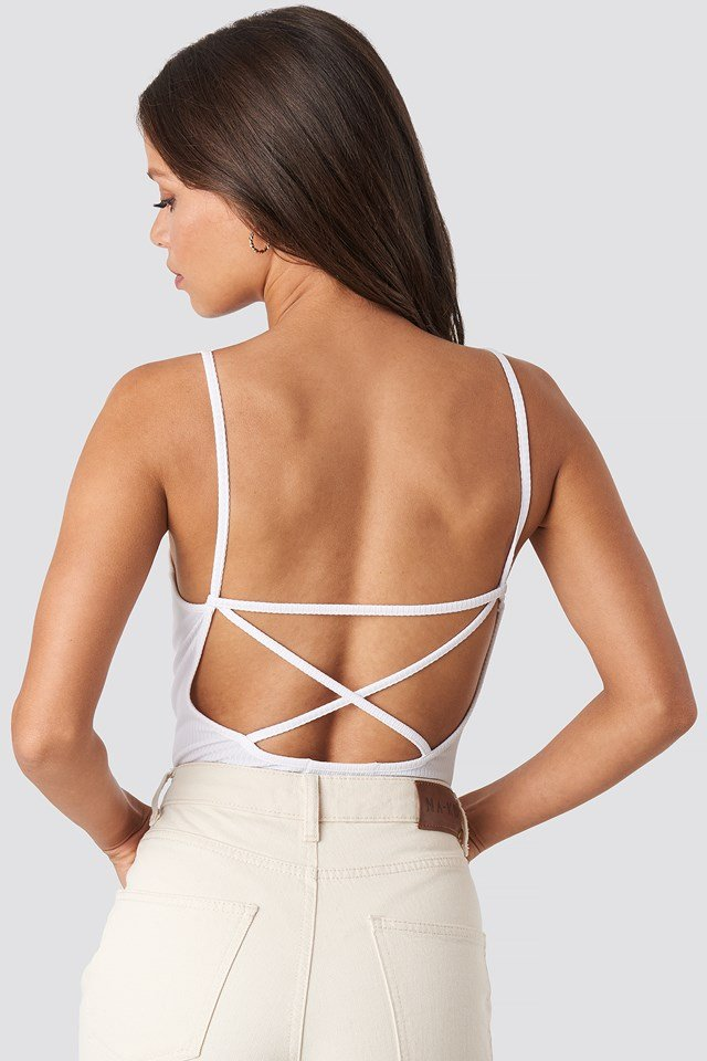 Back Cross Ribbed Body White