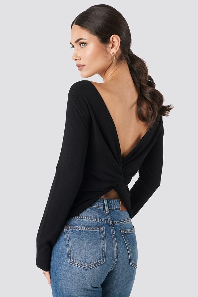 Back Cross Knitted Sweater Black