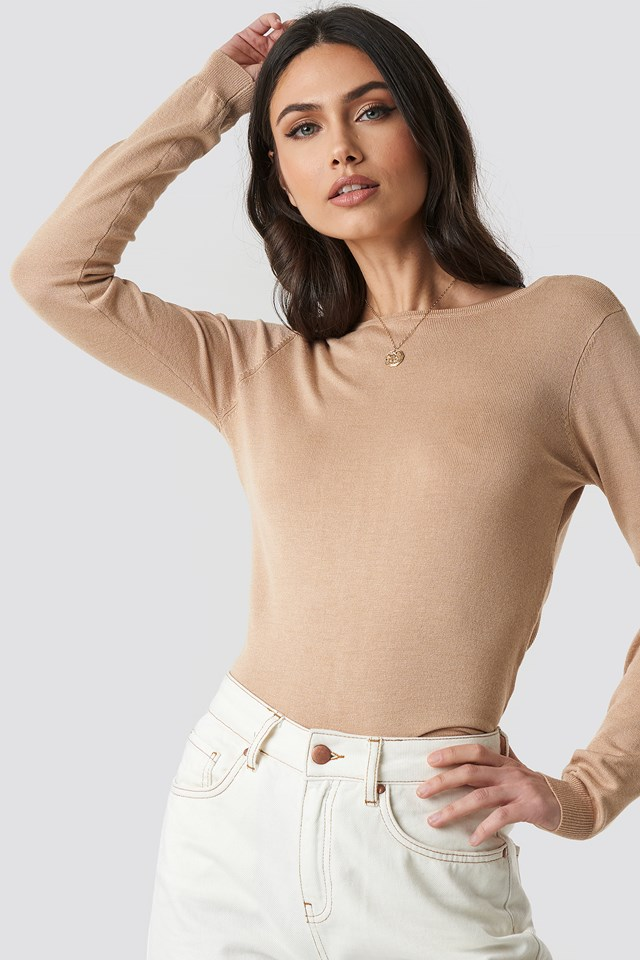 Back Cross Knitted Sweater Beige