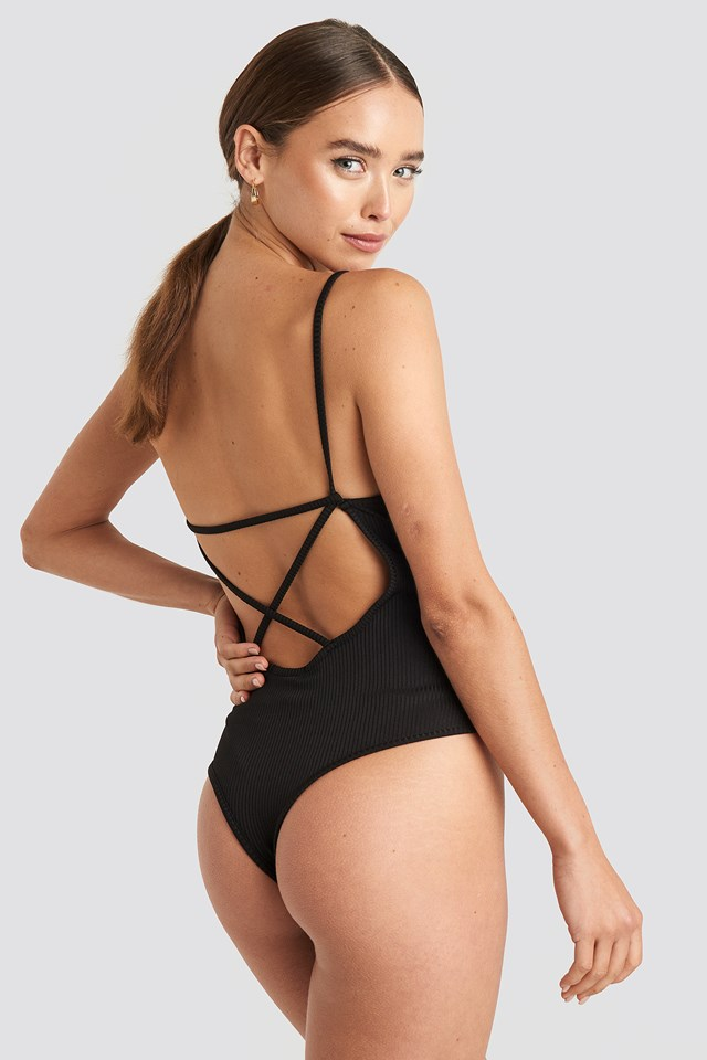 Back Cross Ribbed Body Black
