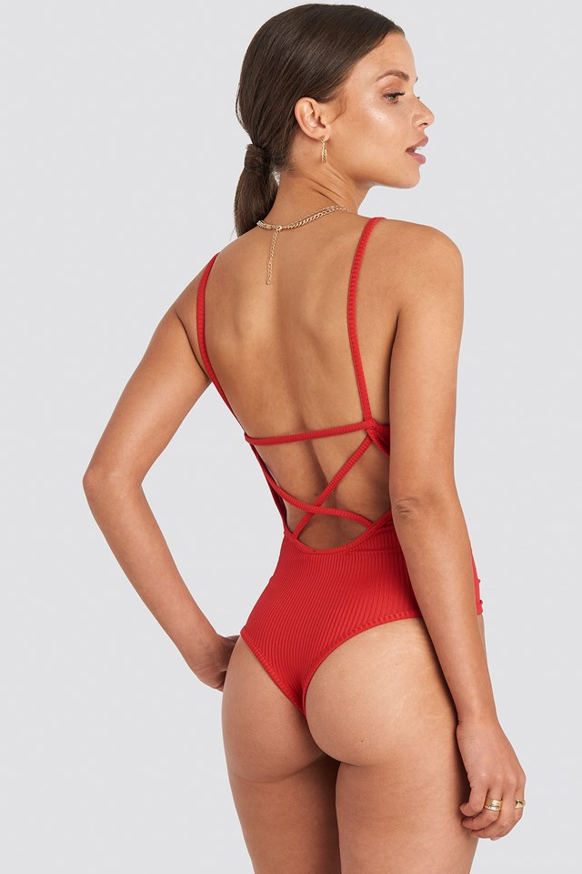 Back Cross Ribbed Body Red