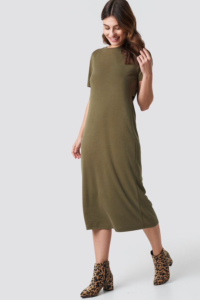 Back Cut Out Dress Khaki
