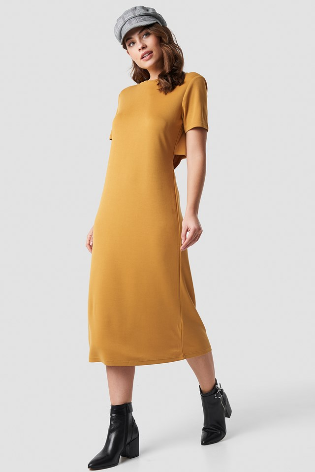 Back Cut Out Dress Mustard