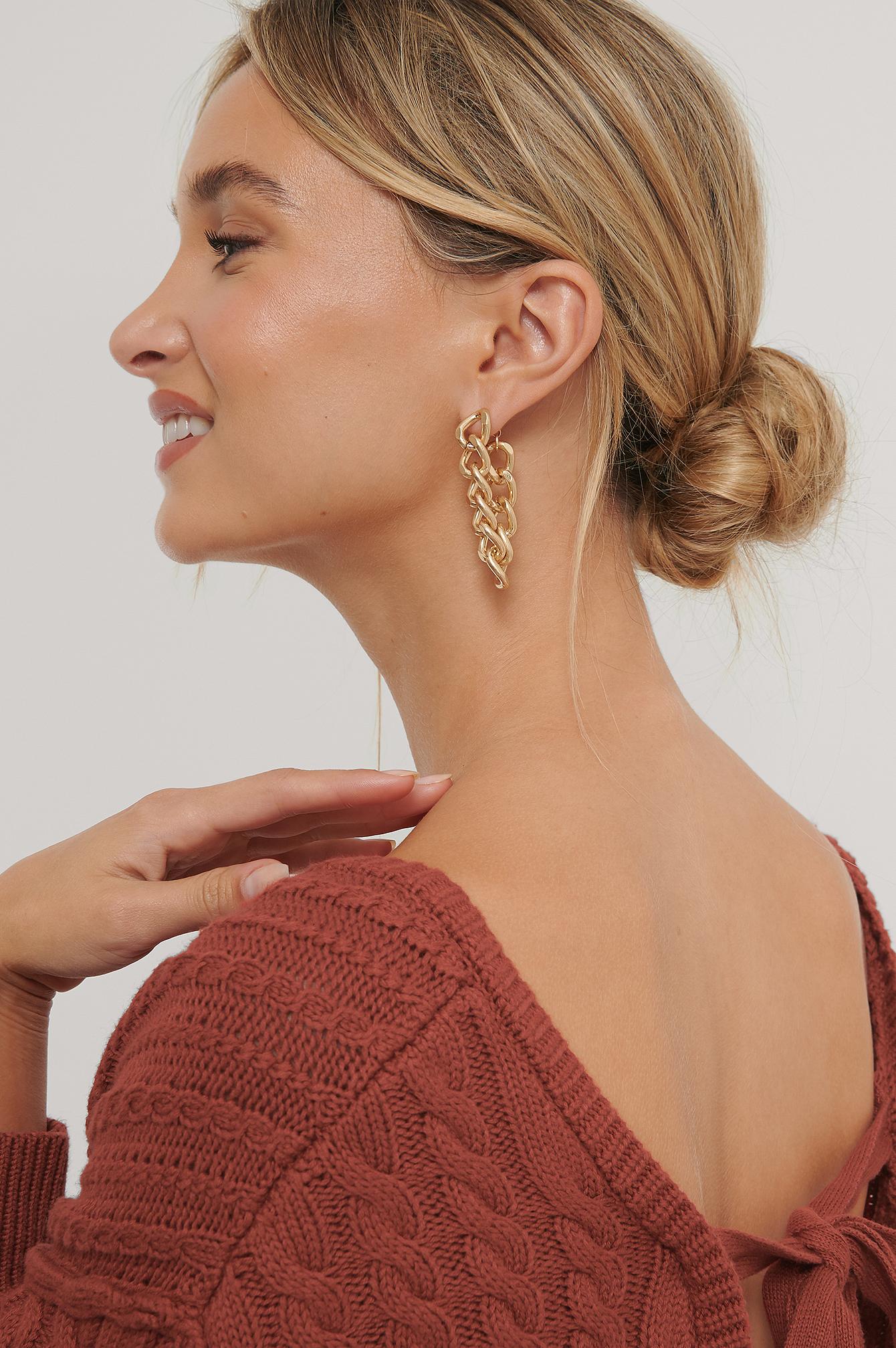 Na-kd Back Drop Chain Earrings - Gold