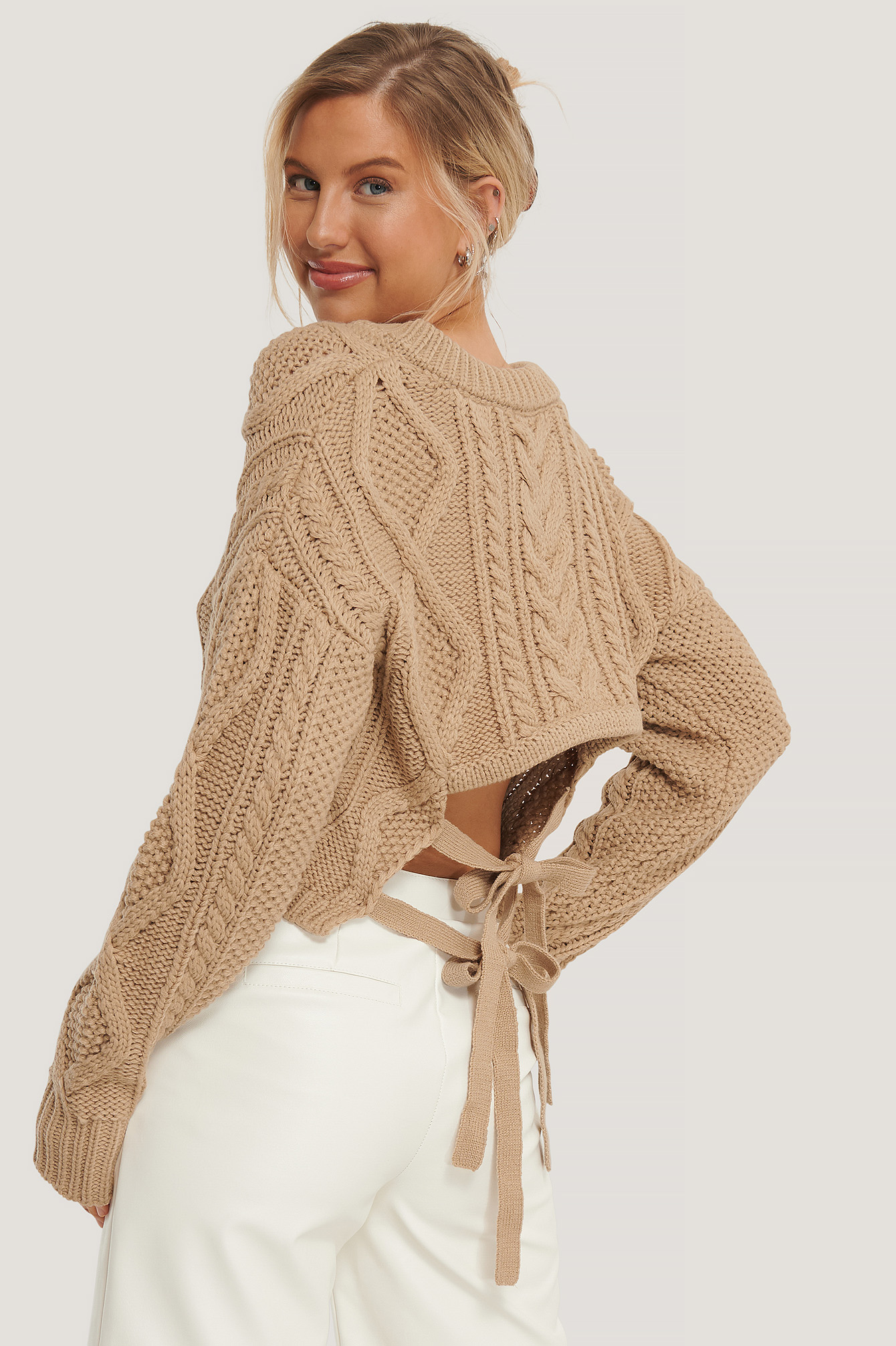 Back Knot Detail Cable Knit Sweater