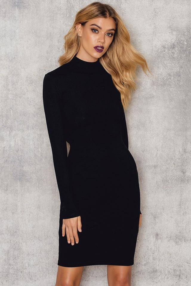 Back Lacing High Neck Dress Black