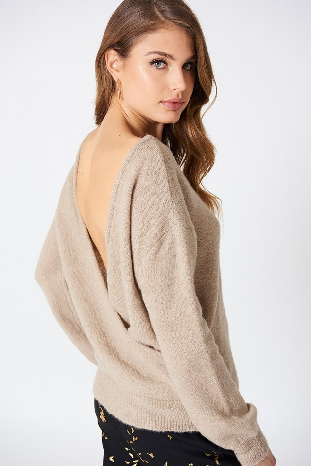 Back Overlap Knitted Sweater Beige