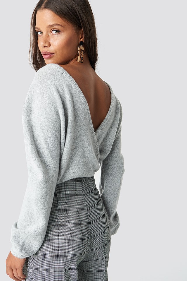 V-Neck Back Overlap Knitted Sweater Grey