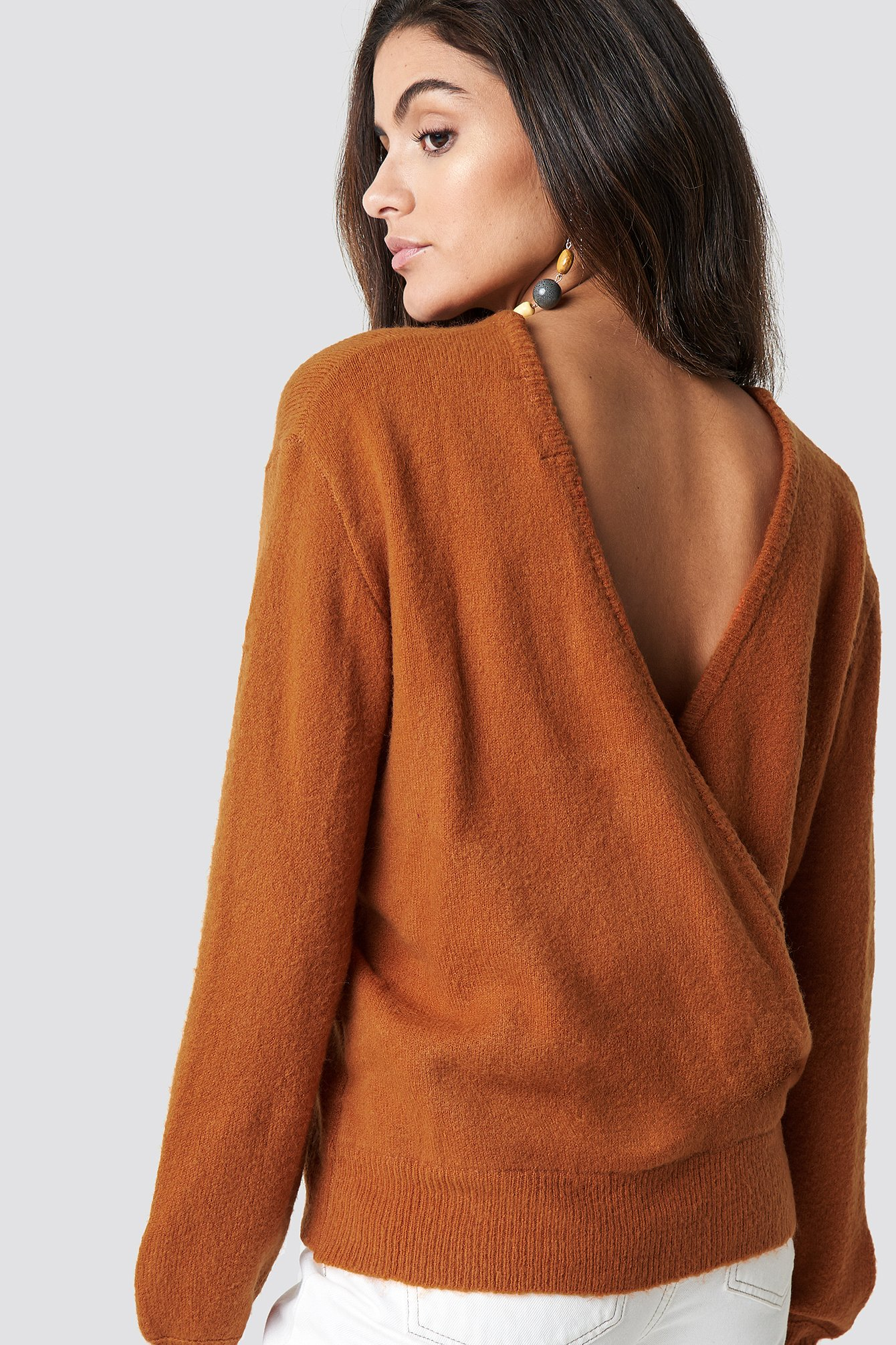 NA-KD Trend Back Overlap Knitted Sweater - Orange | Bekleidung > Sweatshirts & -jacken > Sweatshirts | NA-KD Trend