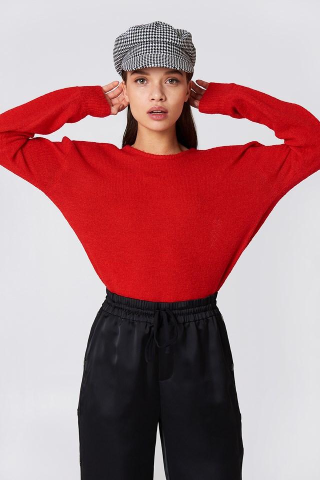 V-Neck Back Overlap Knitted Sweater Red