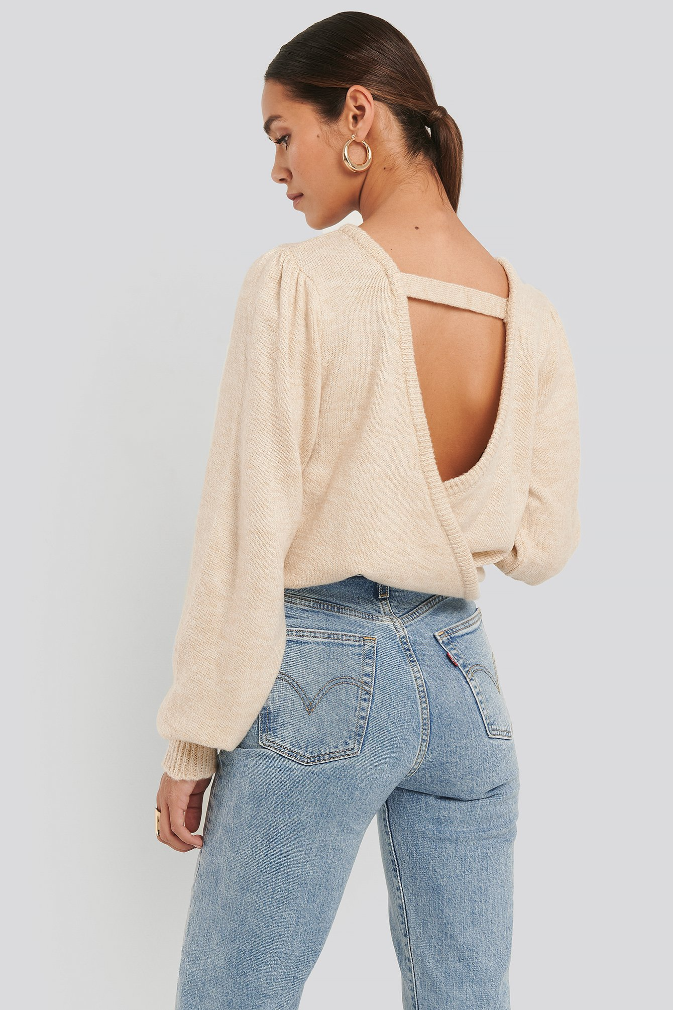 Beige Back Overlap Puff Sleeve Knitted Sweater