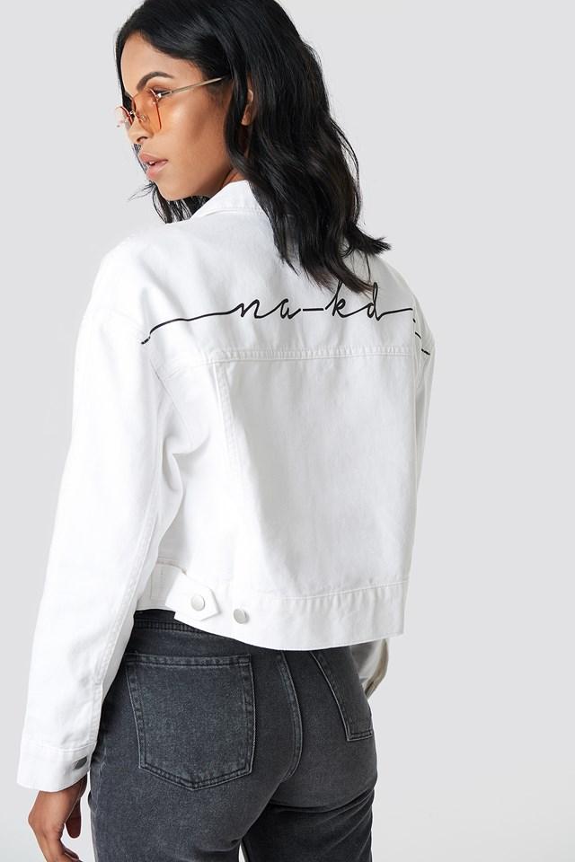 NA-KD Back Print Denim Jacket White