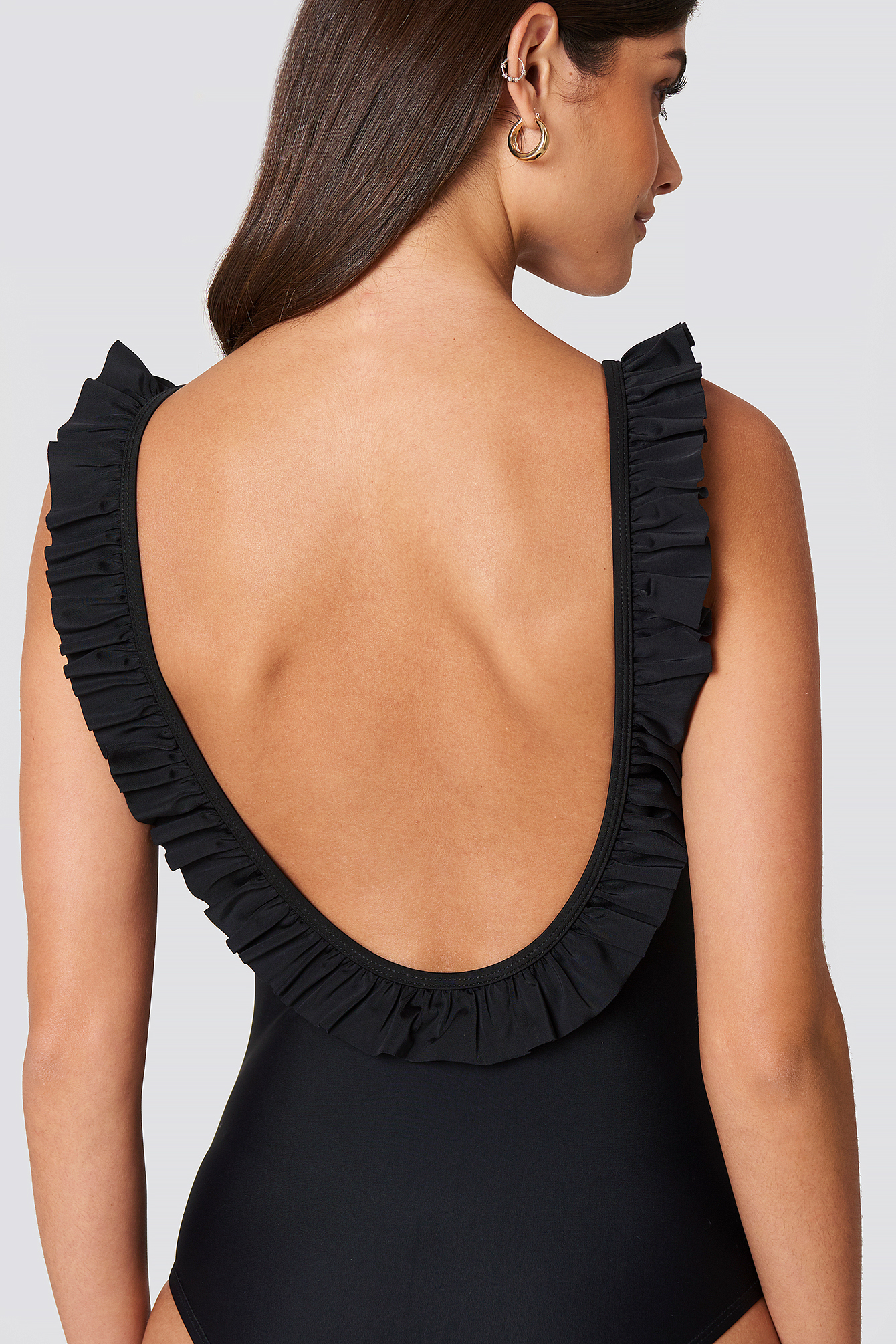 Deep Back Ruffle Swimsuit NA-KD.COM