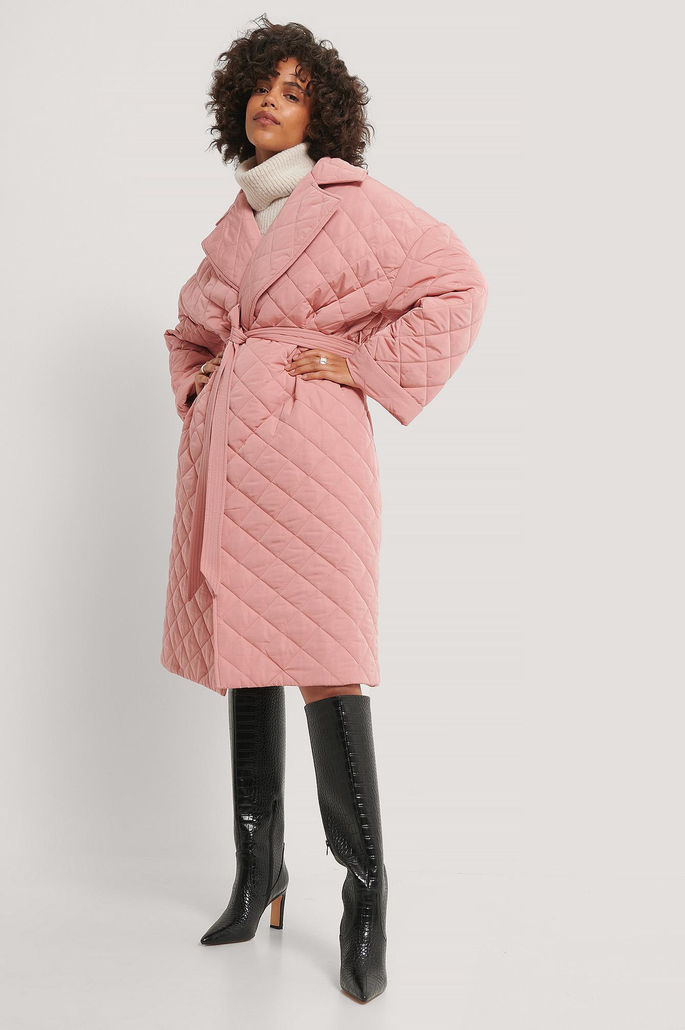Quiltet Kåpe Med Splitt Bak Dusty Pink | na