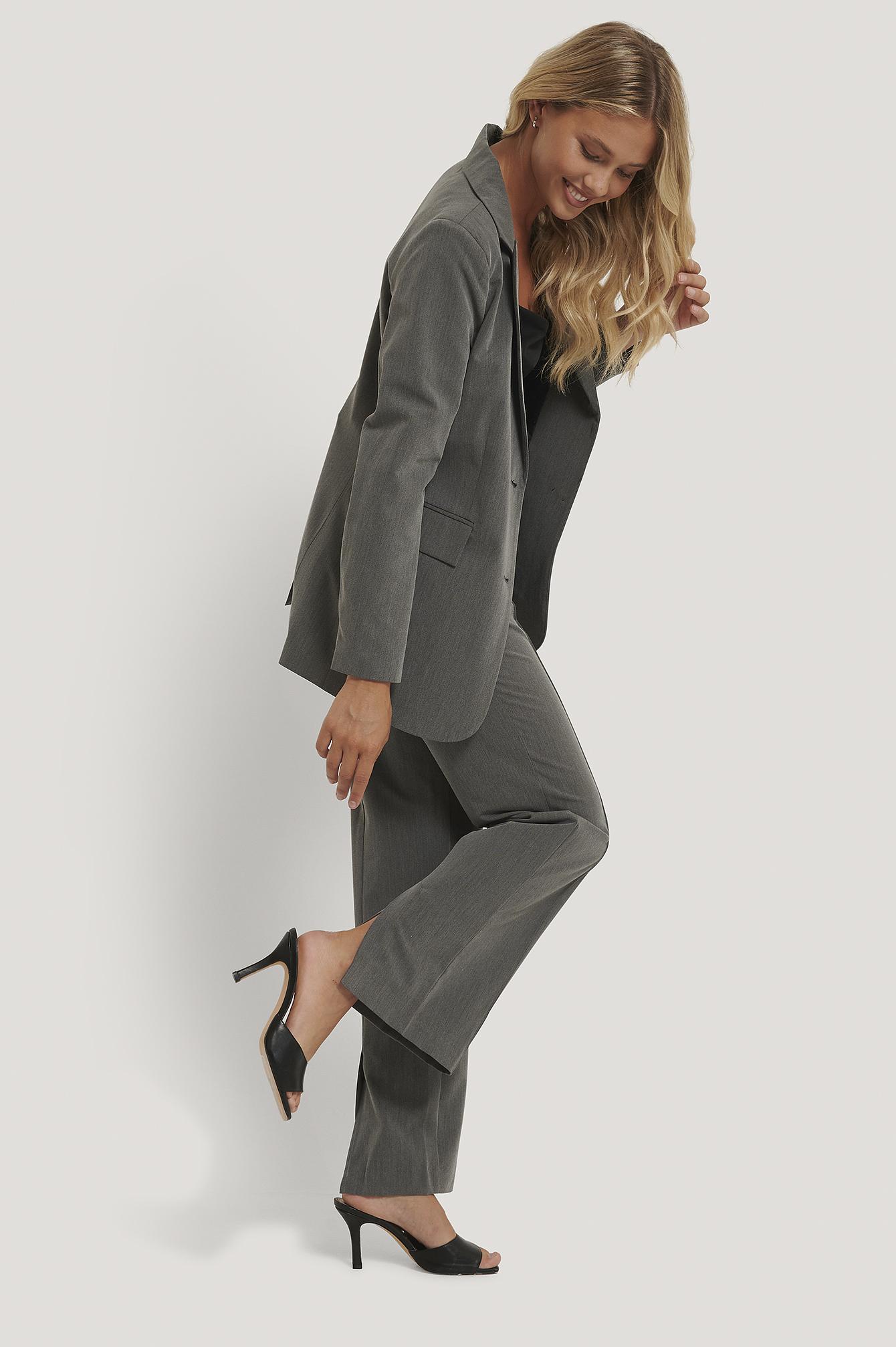 na-kd classic -  Anzughose Mit Schlitz - Grey