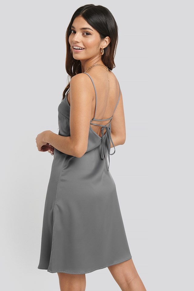 Back Strap Detail Satin Dress Silver
