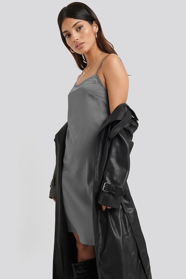 Back Strap Detail Satin Dress Silver